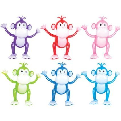 Monkey 24 Inflatable - 24 Inch Monkey Inflatables - 3 Pack (Colors Vary)