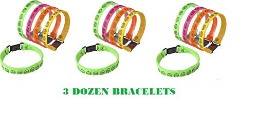 (36) Neon SMILEY FACE Buckle Bracelets ~ Birthday Party Favors ~ Summer Camps ~ Teacher Year End Gifts ~ Halloween Trick or Treat ~ Easter Basket Fillers ~ Goody Bags ~ BFF New