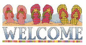 Stitch Cross Chart Welcome (Flip Flop Welcome Cross Stitch Chart and Free Embellishment)