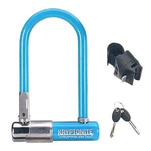 Kryptonite Kryptolok Series 2 Mini Bicycle U-Lock with Transit FlexFrame Bracket, Light Blue, 3.25 x 7-Inch