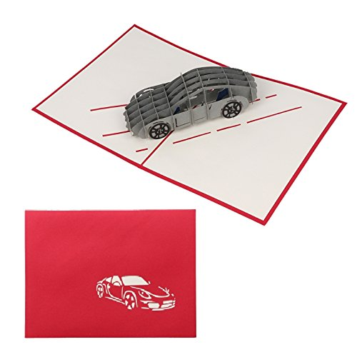 Kofun Father's day Gifts, Greeting Card With Envelope, 3D Car Pop Up Merry Birthday New Year Invitation Card Creative Paper Cards Handmade Craft Valentines Party Baby Shower Gift (Surprise Halloween Party Invitations)