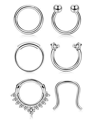 Thunaraz 4-6Pcs 316L Stainless Steel Septum Piercing Nose Rings Hoop Cartilage Tragus Retainer Body Piercing Jewelry 8MM 16G