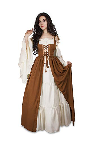 Mythic Renaissance Medieval Irish Costume Over Dress & Cream Chemise Set (S/M, Burnt Orange)