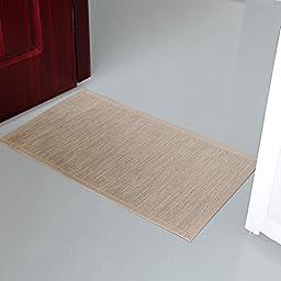 Valdler Indoor And Outdoor Door Mat Rug Rectangular Non-Slip 18-Inch By 30-Inch Beige