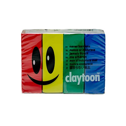 (Claytoon 228051 Oil Based Modeling Clay Set, 4 Assorted Colors)