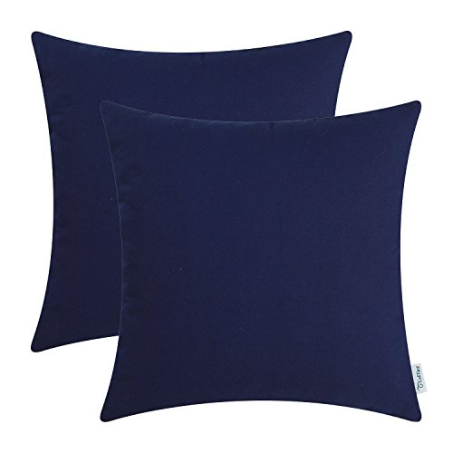CaliTime Pack of 2 Throw Pillow Covers Cases for Couch Sofa Bed Solid Dyed Soft Cotton Canvas 18 X 18 Inches Navy Blue