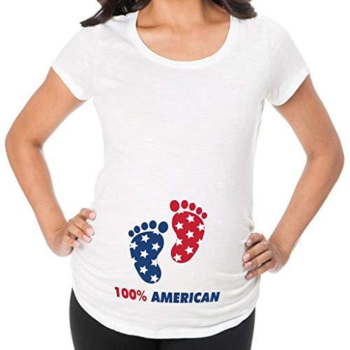 Iusun Women's Maternity Tops Plus Size America Letter Printed Mom Nursing Baby Short Sleeve T-Shirt Breastfeeding Pregnants Clothes