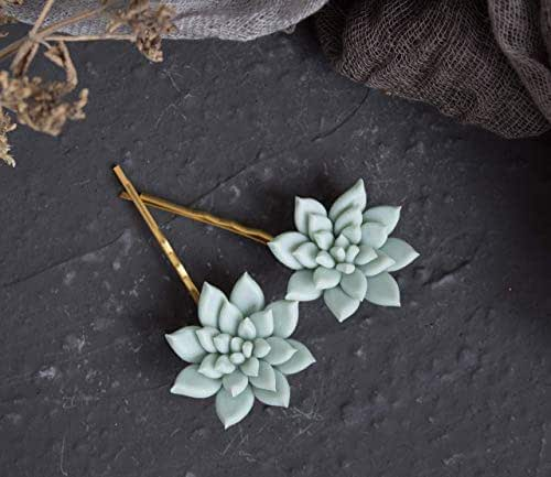 Succulent hair clips bridal hair piece wedding flower bobby pins floral hairpiece mint green bridesmaid echeveria jewelry bohemian