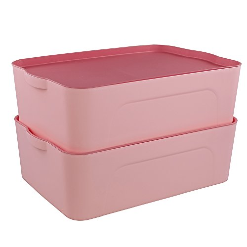Cand 18-quart Stackable Storage Box with Lid, 2 Pack (Pink)