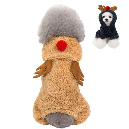 Dog Elk Dress,Dog Cat Christmas Coat,Cute Pet Reindeer Hoodies Costume,Fashion Soft Coral Fleece puppy kitty sweater,Dog Fall Winter Warmth Thick Jumpsuit for Halloween Party Cospalay (L, Brown)