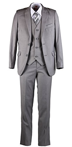 Tuxgear Boys Slim Fit Light Grey Suit In Toddlers To Boys Sizing (18 Boys) (Holiday Vest Boys)
