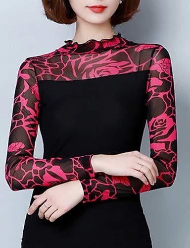 YFLTZ Sortie Femme Rond Red Blouse Floral col de qTrwBq1