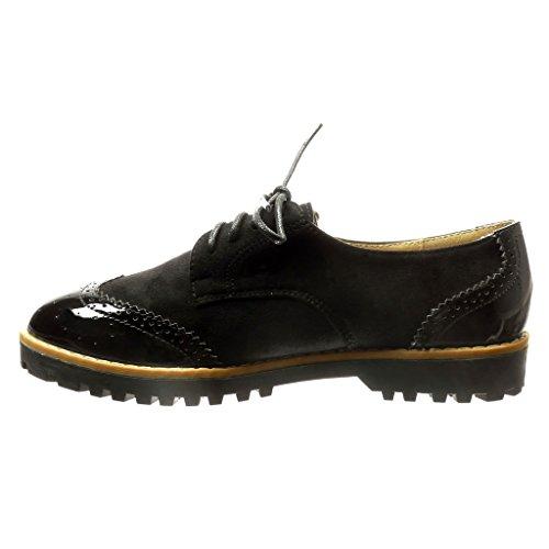 Angkorly - Zapatillas de Moda zapato derby bimaterial mujer perforado patentes Talón Tacón ancho 2.5 CM - Negro