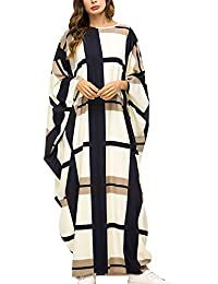 Women's Batwing Plaid Floral Printed Long Short Sleeves Oversized Maxi Dress Sleep Loungewear