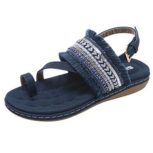 (New in Summer Sandal Respctful ♫♫Women's Shoes Ethnic Toe Ring Diagonal Strap Sling Back Boho Flat Sandals Blue)