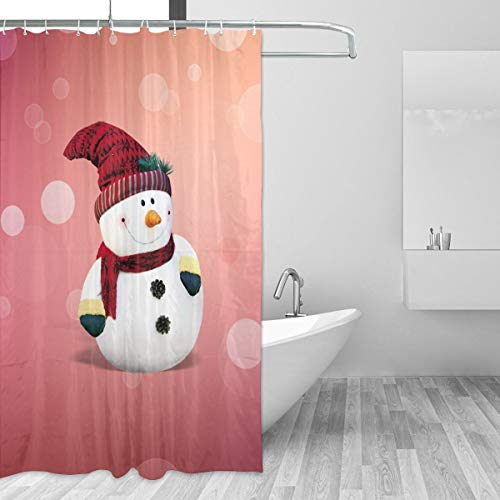 Warm-Tone Art Merry Christmas Snowman Shower Curtain Stylish and Individual Bathroom Curtain Decoration with Hooks - 55x72 Inches -