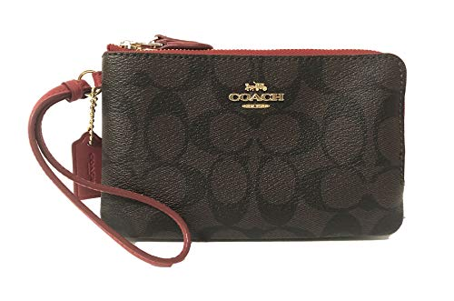 (Coach Signature PVC Double Corner Zip Wristlet Wallet (IM/Brown True Red))