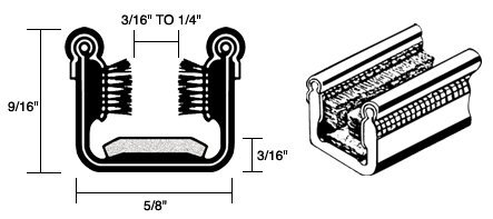 CRL Flexible Universal Channel with Pile and Felt Liner for 1948-1962 Models - 60 in long (Window Glass Run Channel)