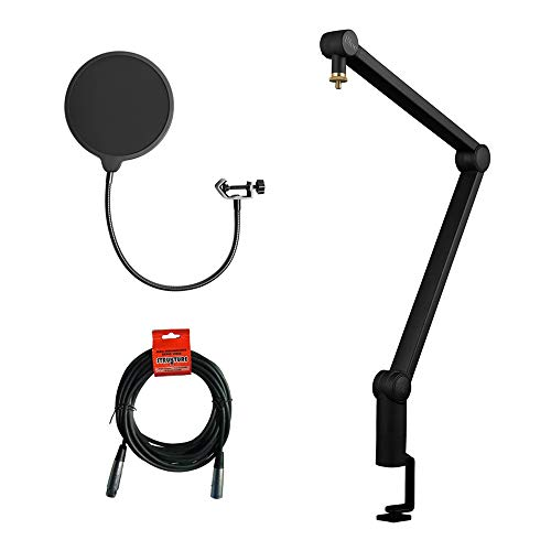 - Blue Compass Premium Tube-Style Broadcast Boom Arm with Kellopy Pop Filter & 20' XLR Cable Bundle