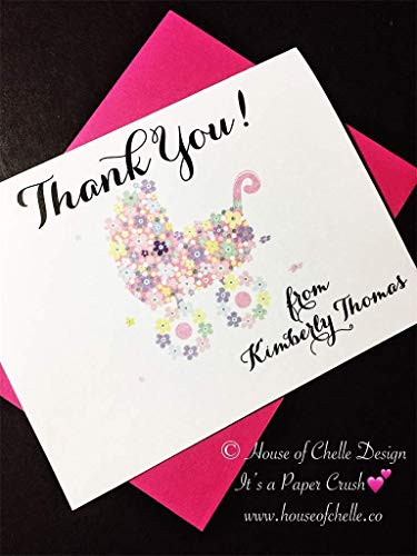Baby Shower Thank You Cards - Baby Shower Thank You Notes - Personalized Stationery/Stationary - FLORAL BABY CARRIAGE PINK - Set of 12 Note Cards with Envelopes