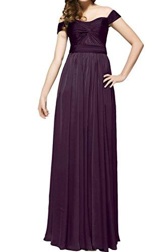 A Schulter Linie von Partykleid Violett der ab Chiffon Falte Ballkleid Bodenlang Dunkel Festkleid Ivydressing Abendkleid Elegant Satin wqYnRxSwt8
