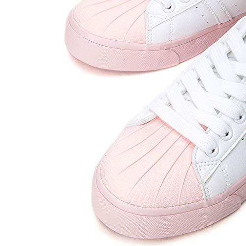 Zapatos Boca Mujer Pink Profunda Up Flat Skateboard Fashion Casual Señoras Round Sneakers De Head Shoes Lace TnZdn8O
