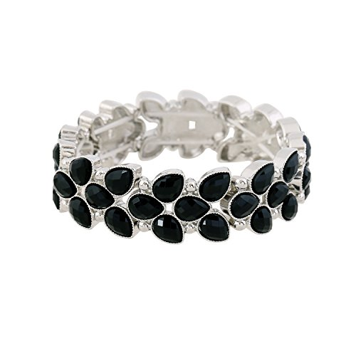 - D EXCEED Women's Fashion Resin Stone Bracelet Gift Idea Trendy Cute Leaf Shaped Bangle Bracelet Crystal Stretch Bracelet for Women 7