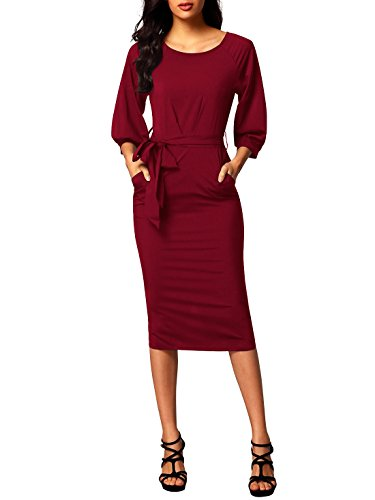 Red Neck Bulawoo Sleeve Dress Women's Pencil Pockets Belted Round with Puff qxxE6wP1Bv