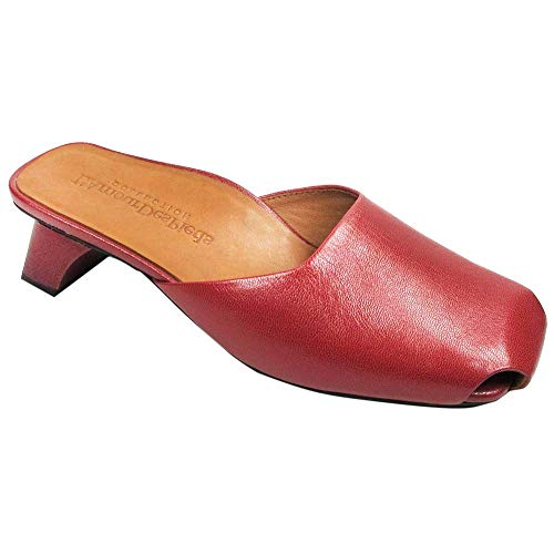 (L'Amour des Pieds Women's Winoc Leather Heel Slide (Red Capri Kid, 8.5 M US))
