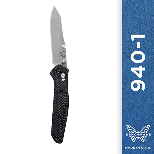 Benchmade - 940-1 Knife, Reverse Tanto Blade, Plain Edge, Satin Finish, Carbon Fiber Handle ()