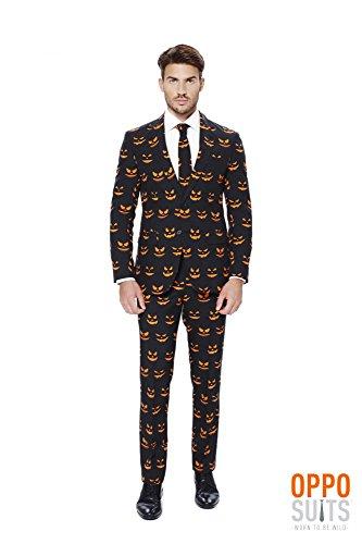 Mens 'Black-O Jack-O' Party Suit and Tie byOppoSuits, (Pumpkin Suit)