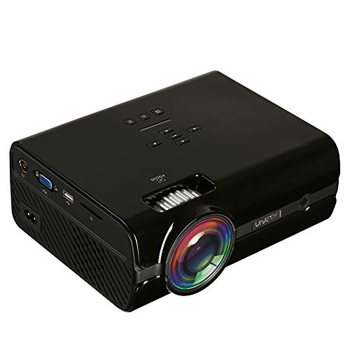 FSM88 720P Projector, Mini Video Projector 400-600 Lumens LCD Compatible with Home Theater Suitable for Home Theater, Office/Games and Videos,Black,B