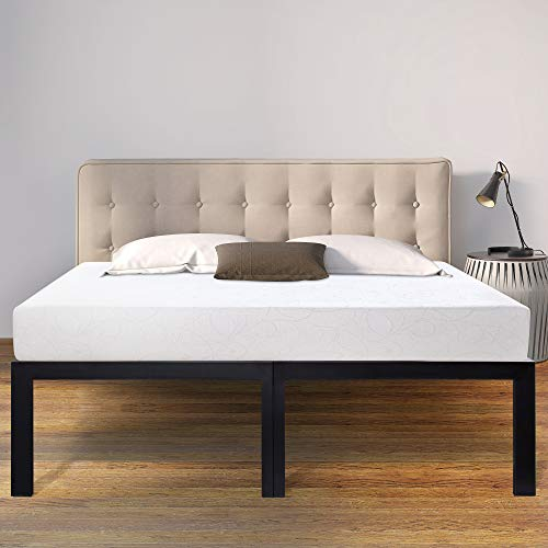 Sleeplace 18 Inch High Profile Heavy Duty Steel Slat Basic Home Furniture Unique Design Mattress Foundation Bed Frame Black Bed Frame