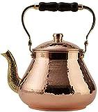 DEMMEX 2019 Heavy Gauge 1mm Thick Natural Handmade Turkish Copper Tea Pot Kettle Stovetop Teapot, LARGE 3.1 Qt - 2.75lb (Hammered Copper)