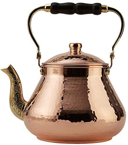 DEMMEX 2019 Heavy Gauge 1mm Thick Natural Handmade Turkish Copper Tea Pot Kettle Stovetop Teapot, LARGE 3.1 Qt - 2.75lb (Copper)