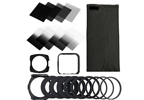 BiG DIGITAL Complete ND Neutral Density Filter Set, Compatible with Cokin P Series, Includes: Graduated ND2, ND4, ND8, and Full ND2, ND4, and ND8 Filters + square filter holder + square lens hood + nine sizes adapter rings+ six pocket wallet style case for the filters, compatible with all of the following lens thread size: 49mm 52mm 55mm 58mm 62mm 67mm 72mm 77mm and 82mm.