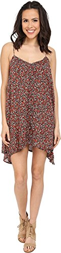 Volcom Junior's Laying Low Printed Slip Dress, Fire Red, X-Small