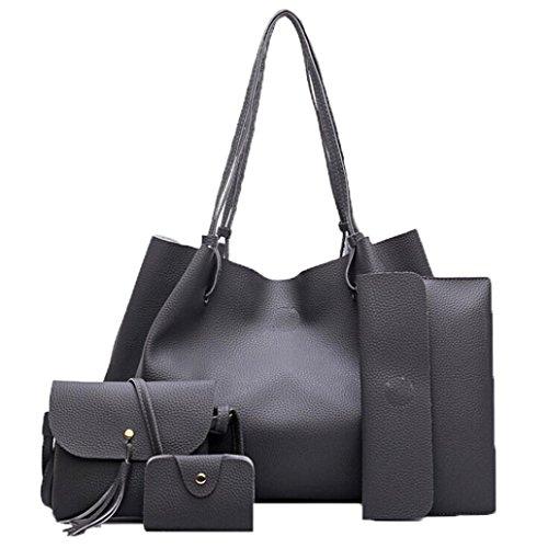 messenger Women Purse Handbag Sets Coin card Crossbody Fashion Dark Bags Holders Leather Bag Pcs women Bag Handbags 4 Gray Four fwSOWq1AZn