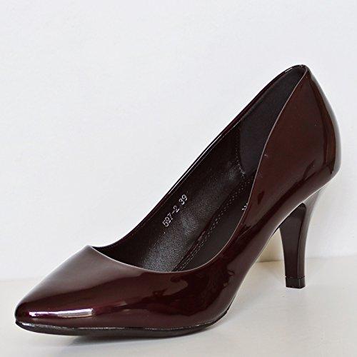 corte ocasionales tacón fiesta Zapatos 5972 Rock Styles Patentes bajo oscuro noche de Damas medio por la Mujeres Tamaño de Oficina Granate Bombas on de SPTUqf