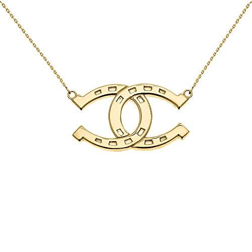 Collier Femme Pendentif 10 ct Or Jaune Criss Cross Fer A Cheval Bonne Chance (Livré avec une 45cm Chaîne)