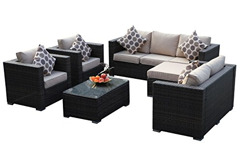Yakoe Rattan Garden Furniture Table Chairs Sofa Set - Brown