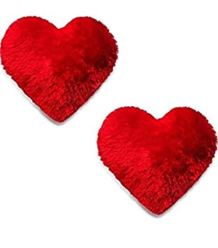 Diggy Heart Microfiber Soft Fabric Pillow (Red) Set of 2