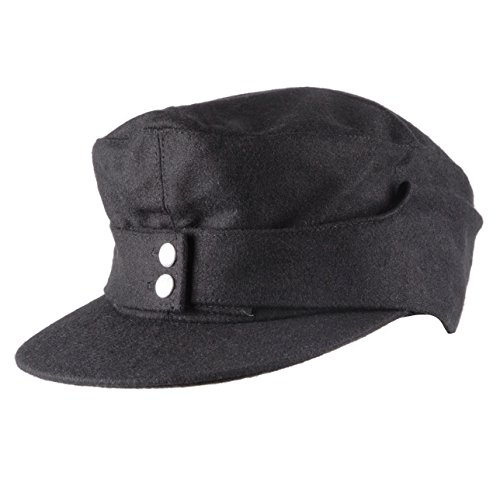 Heerpoint Reproduction Wwii Ww2 German Wh Elite Em Army M43 Panzer Wool Field Cap Hat Black (L)