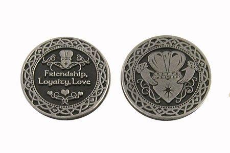 "Dozen (12) Pewter CLADDAGH Pocket Tokens LOVE Friendship & LOYALTY - 1"" Metal Coins - INSPIRATIONAL Gift - IRISH BLESSINGS KEEPSAKE"