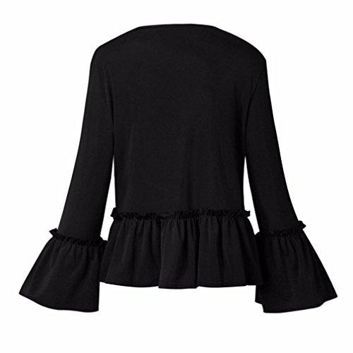 Crop Blazer Noir Ouverte Malloom® Luxe Ruffle Veste Longues Devant Manches Peplum Les Femmes Manteau AUAv8Baq