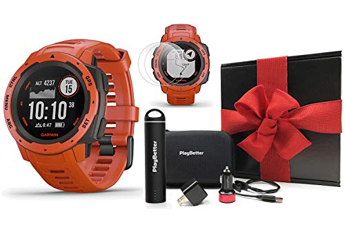 Garmin Instinct (Flame Red) Outdoor GPS Watch Gift Box Bundle | with PlayBetter Portable Charger, USB Car & Wall Adapters, Hard Case | Rugged GPS Watch | Heart Rate | Black Gift Box, Red Bow