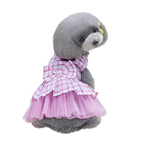 chenqiu Small Dog Dress Pet Puppy Cat Lace Tutu Stripe Vest Skirt Clothes, Small Dog Cat Pet Dress Fly Sleeve Dress for Pet ()