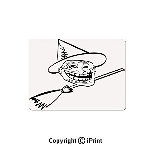 Gaming Mouse Pads, Halloween Spirit Themed Witch Guy Meme LOL Joy Spooky Avatar Artful Image Non Slip Rubber Mousepad,7.1x8.7 inch,Black White ()