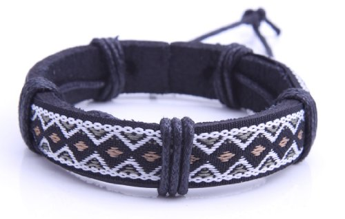 New Men Leather Bracelet Surfer Tribal Cuff Handmade Hemp Cord Bangle Wristband (A6)