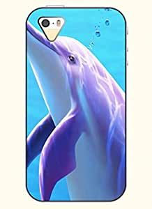 OOFIT Phone Case design with Purple Beautiful Dolphin for Apple iPhone 5 5s 5g